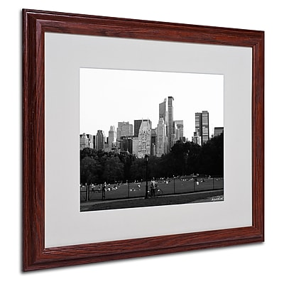 Miguel Paredes 'Sheep's Meadow' Matted Framed Art - 16x20 Inches - Wood Frame
