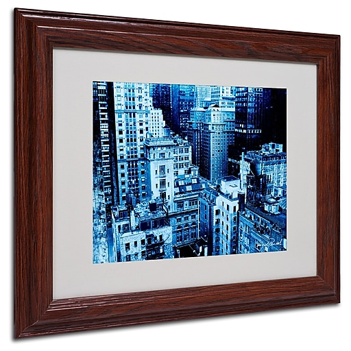 Miguel Paredes 'Upper West Side' Matted Framed Art - 11x14 Inches - Wood Frame