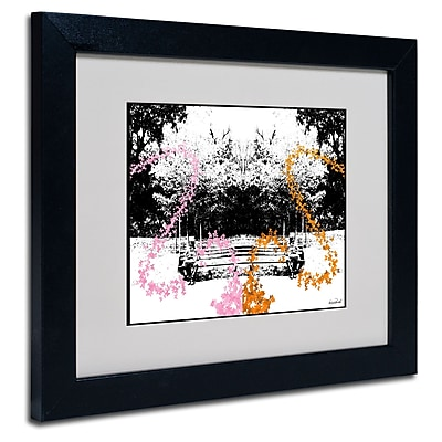 Trademark Fine Art Miguel Paredes 'Pink Orange Butterflies' Matted Art Black Frame 11x14 Inches