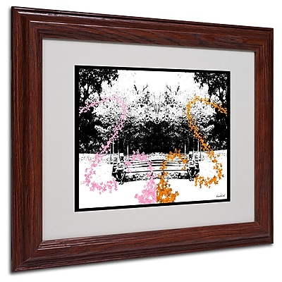 Miguel Paredes 'Pink Orange Butterflies' Matted Framed Art - 11x14 Inches - Wood Frame