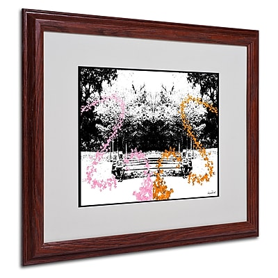 Miguel Paredes 'Pink Orange Butterflies' Matted Framed Art - 16x20 Inches - Wood Frame