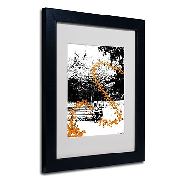 Trademark Fine Art Miguel Paredes 'Orange Butterflies' Matted Art Black Frame 11x14 Inches