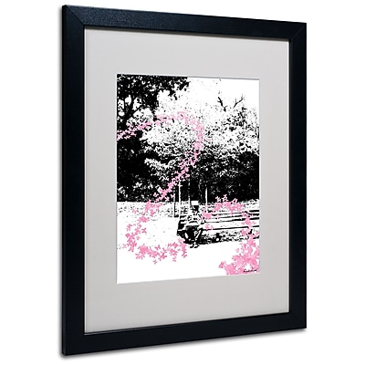Trademark Fine Art Miguel Paredes 'Pink Butterflies' Matted Art Black Frame 16x20 Inches