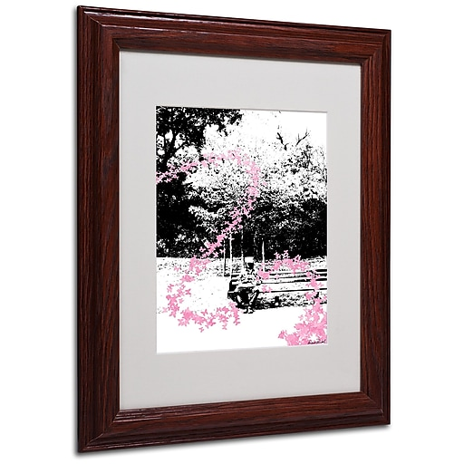 Miguel Paredes 'Pink Butterflies' Matted Framed Art - 11x14 Inches - Wood Frame