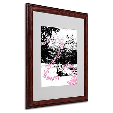 Miguel Paredes 'Pink Butterflies' Matted Framed Art - 16x20 Inches - Wood Frame