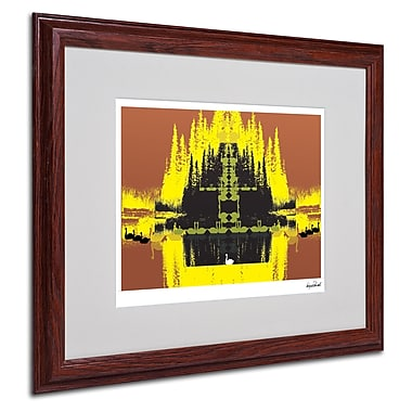 Miguel Paredes 'Yellow Trees' Matted Framed Art - 16x20 Inches - Wood Frame