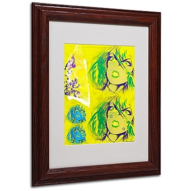 Miguel Paredes 'Crime in Yellow' Matted Framed Art - 11x14 Inches - Wood Frame