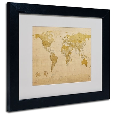 Trademark Fine Art Michael Tompsett 'World Map Antique' Matted Art Black Frame 11x14 Inches