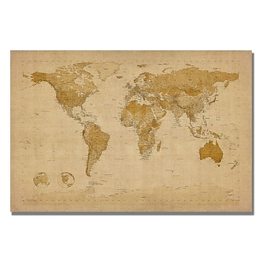 Trademark Fine Art Michael Tompsett 'Antique World Map' Canvas Art 18x24 Inches