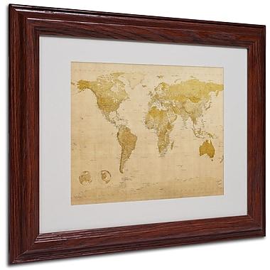 Michael Tompsett 'World Map Antique' Framed Matted Art - 11x14 Inches - Wood Frame