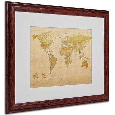 Michael Tompsett 'World Map Antique' Framed Matted Art - 16x20 Inches - Wood Frame