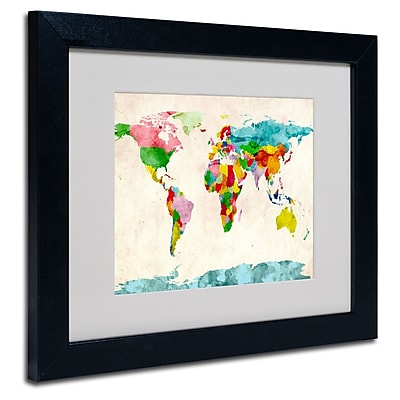 Trademark Fine Art Michael Tompsett 'Watercolor Countries' Matted Art Black Frame 11x14 Inches
