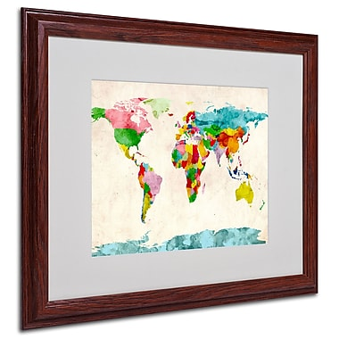 Michael Tompsett 'Watercolor Countries' Framed Matted Art - 16x20 Inches - Wood Frame
