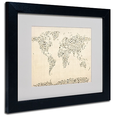 Trademark Fine Art Michael Tompsett 'World Map-Music Notes' Matted Art Black Frame 11x14 Inches