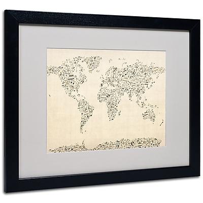 Trademark Fine Art Michael Tompsett 'World Map-Music Notes' Matted Art Black Frame 16x20 Inches