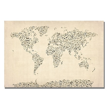 Trademark Fine Art Michael Tompsett 'Music Note World Map' Canvas Art