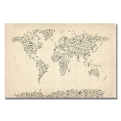 Trademark Fine Art Michael Tompsett 'Music Note World Map' Canvas Art 18x24 Inches