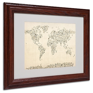 Michael Tompsett 'World Map-Music Notes' Framed Matted Art - 11x14 Inches - Wood Frame