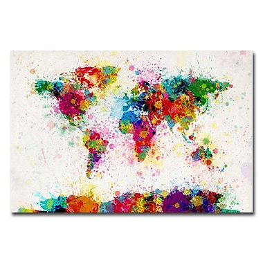 Trademark Fine Art Michael Tompsett 'Paint Splashes World Map' Canvas Art 18x24 Inches