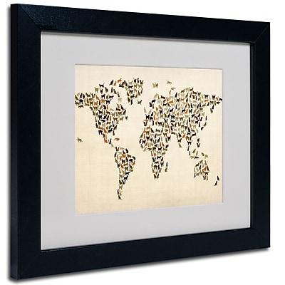 Trademark Fine Art Michael Tompsett 'World Map-Cats' Matted Art Black Frame 11x14 Inches