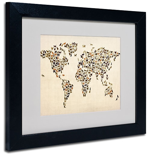 Trademark Fine Art Michael Tompsett 'World Map-Cats' Matted Art Black Frame 11x14 Inches