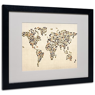 Trademark Fine Art Michael Tompsett 'World Map-Cats' Matted Art Black Frame 16x20 Inches