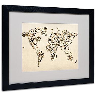 Trademark Fine Art Michael Tompsett 'World Map-Cats' Matted Art Black Frame 16x20 Inches