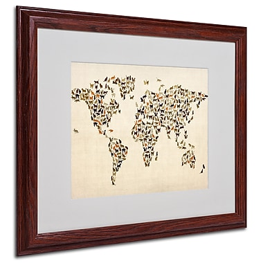 Michael Tompsett 'World Map-Cats' Framed Matted Art - 16x20 Inches - Wood Frame