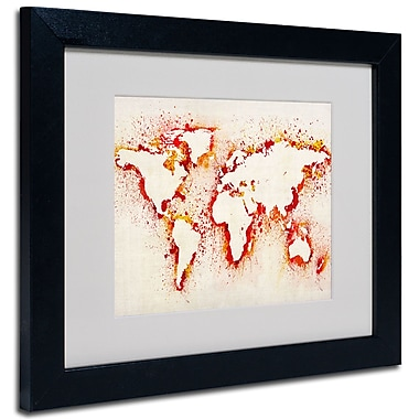 Trademark Fine Art Michael Tompsett 'World Map-Orange' Matted Art Black Frame 11x14 Inches