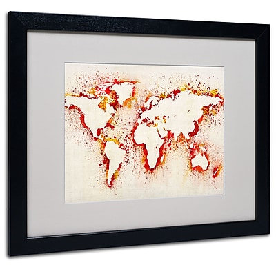 Trademark Fine Art Michael Tompsett 'World Map-Orange' Matted Art Black Frame 16x20 Inches