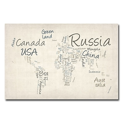 Trademark Fine Art Michael Tompsett 'Typography World Map' Canvas Art 18x24 Inches