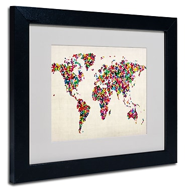 Trademark Fine Art Michael Tompsett 'Butterflies World Map' Matted Art Black Frame 11x14 Inches