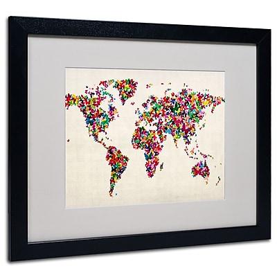 Michael Tompsett 'Butterfly World Map' Framed Matted Art - 11x14 Inches - Wood Frame