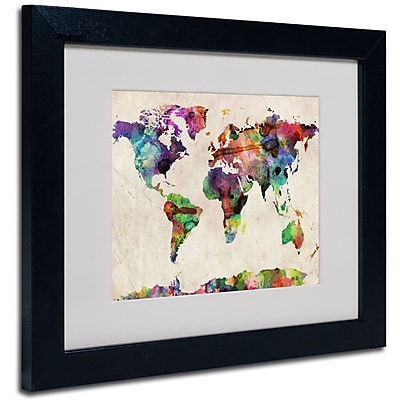 Trademark Fine Art Michael Tompsett 'Urban Watercolor World Map' Matted Black Frame 16x20 Inches