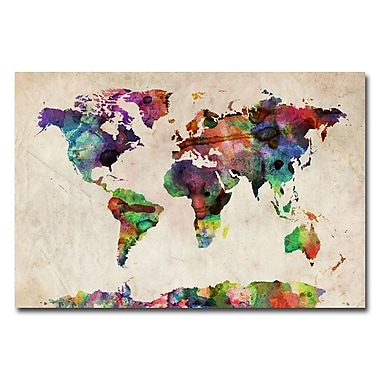 Trademark Fine Art Michael Tompsett 'Urban Watercolor World Map' Matted Black Frame 11x14 Inches