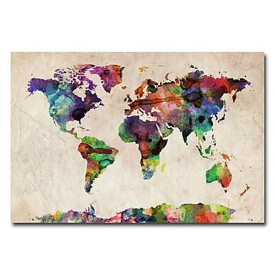 Trademark Fine Art Michael Tompsett 'Urban Watercolor World Map' Matted Black Frame 11x14 Inches