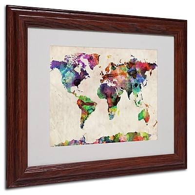 Michael Tompsett 'Urban Watercolor World Map' Matted Framed - 16x20 Inches - Wood Frame