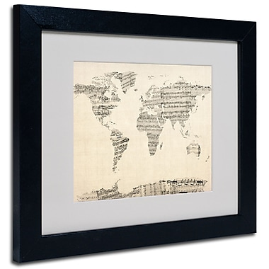 Trademark Fine Art Michael Tompsett 'Old Sheet Music World Map' Matted A Black Frame 16x20 Inches