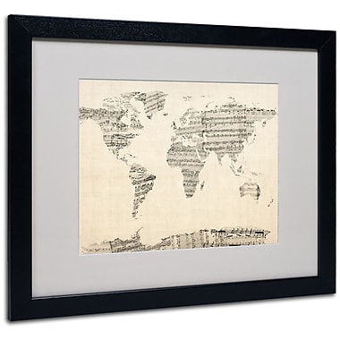 Michael Tompsett 'Old Sheet Music World Map' Matted Framed A - 11x14 Inches - Wood Frame