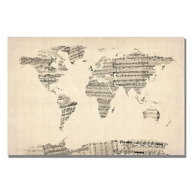 Trademark Fine Art Michael Tompsett 'Old Sheet Music World Map' Canvas Art 18x24 Inches