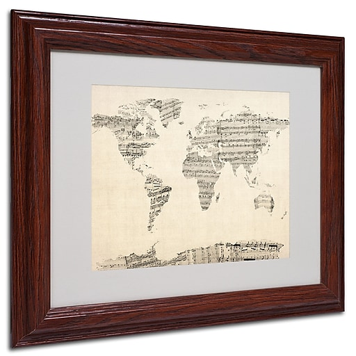 Michael Tompsett 'Old Sheet Music World Map' Matted Framed A - 16x20 Inches - Wood Frame
