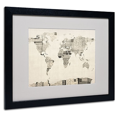 Trademark Fine Art Michael Tompsett 'Vintage Postcard World Map' Matted Black Frame 16x20 Inches