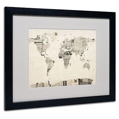Trademark Fine Art Michael Tompsett 'Vintage Postcard World Map' Matted Black Frame 16x20 Inches