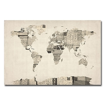 Trademark Fine Art Michael Tompsett 'Vintage Postcard World Map' Canvas Art 18x24 Inches
