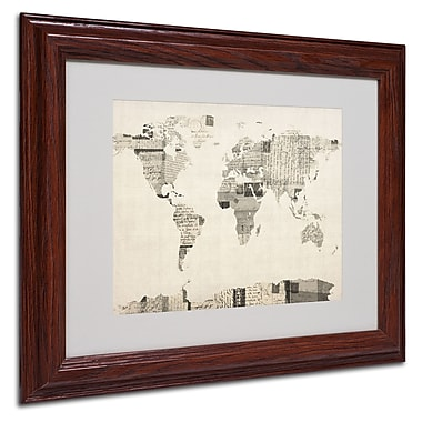 Michael Tompsett 'Vintage Postcard World Map' Matted Framed - 11x14 Inches - Wood Frame