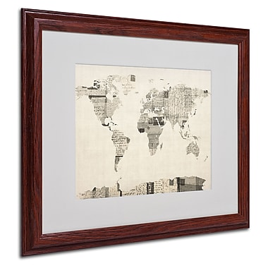 Michael Tompsett 'Vintage Postcard World Map' Matted Framed - 16x20 Inches - Wood Frame