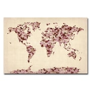 Trademark Fine Art Michael Tompsett 'Vintage Hearts World Map' Canvas Art