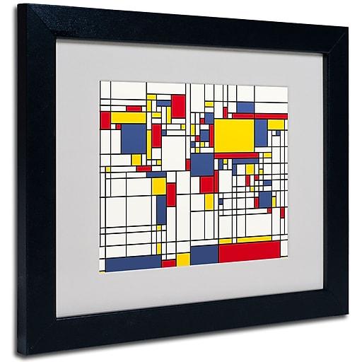 Trademark Fine Art Michael Tompsett 'Mondrian World Map' Matted Art Black Frame 16x20 Inches