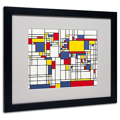Michael Tompsett 'Mondrian World Map' Matted Framed Art - 11x14 Inches - Wood Frame