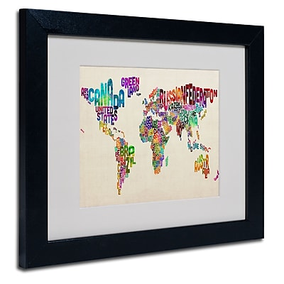 Trademark Fine Art Michael Tompsett 'Typography World Map II' Matted Art Black Frame 16x20 Inches